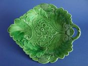 Lovely Green Majolica 'Poppy and Scroll' Serving Dish c1860 #3